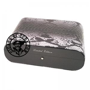 Gentili Humidor - Carbon & Leather Python Style - Limited Edition - Sv10 - Dark Grey Box